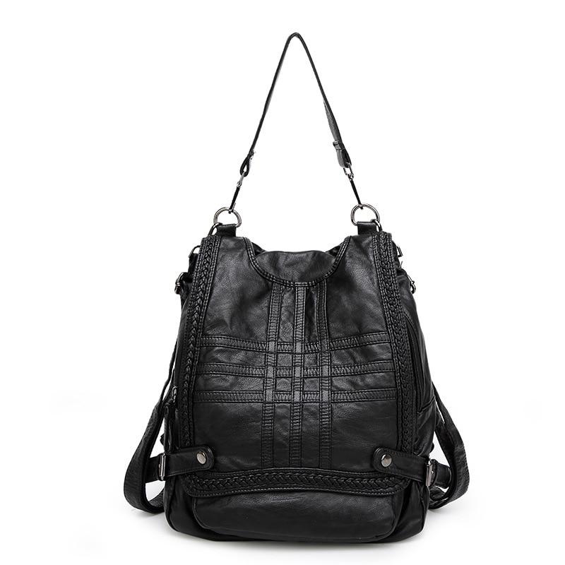 купить Genuine Leather Backpack Women Shoulder Bag School Mochila Bagpack Vintage for Girls Sac A Dos Multi Purse Female Rucksack C464 по цене 2203.8 рублей