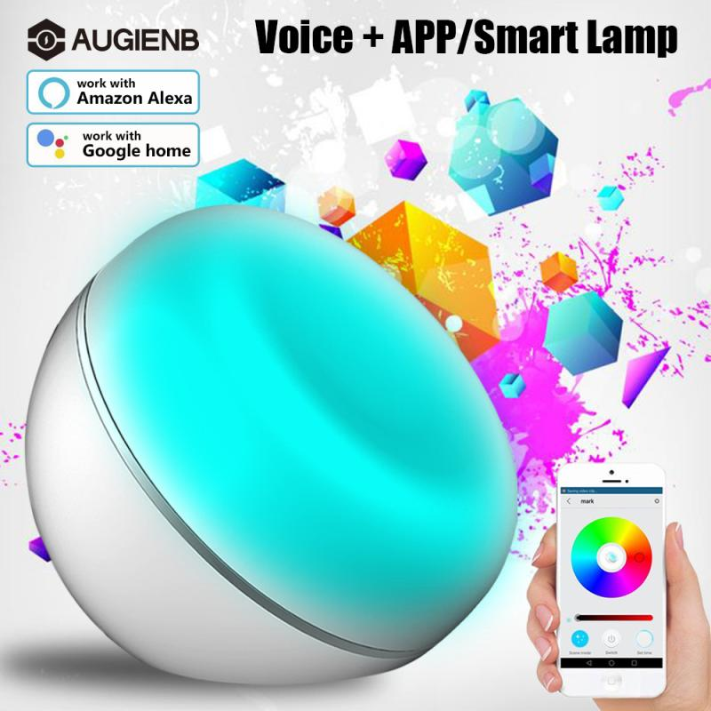 AUGIENB Wifi Smart USB RGB LED Night Light Timing Desk Lamp Dimmable Lighting App/Voice Control Work with Alexa Google Home novelty led night light wireless remote control dimmable night lamp rgb kids children desk table lights usb 5v