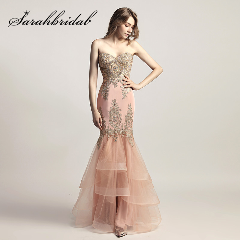 Blush Pink Evening Dresses with Sweetheart Long Mermaid Embroidery Beaded Navy Tulle Ruffles New Arrival Prom