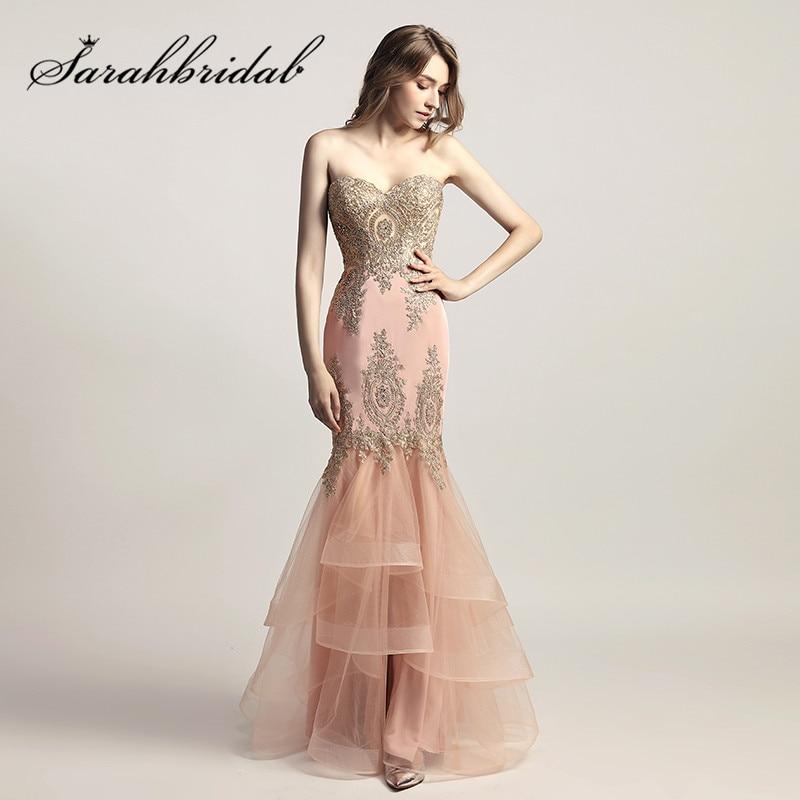 Blush rosa vestidos de noche con cariño larga sirena 2017 recién - Vestidos para ocasiones especiales