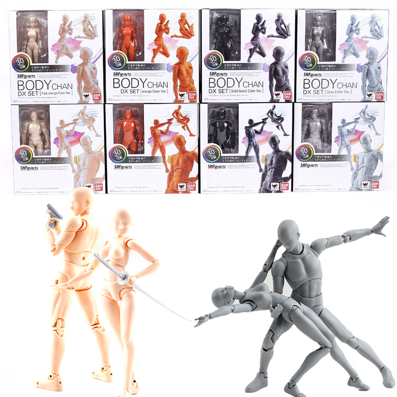 Shf corpo kun/corpo chan dx conjunto pvc figura de ação collectible bandai modelo brinquedos boneca