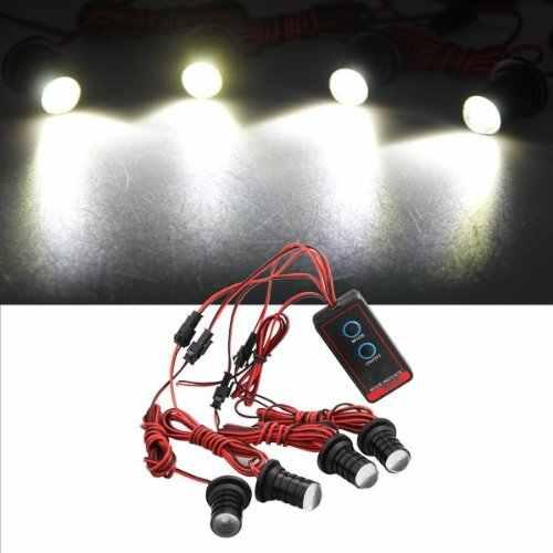 Luz estroboscópica de 4 piezas TOYL intermitente 4 LED luz blanca para coche motocicleta
