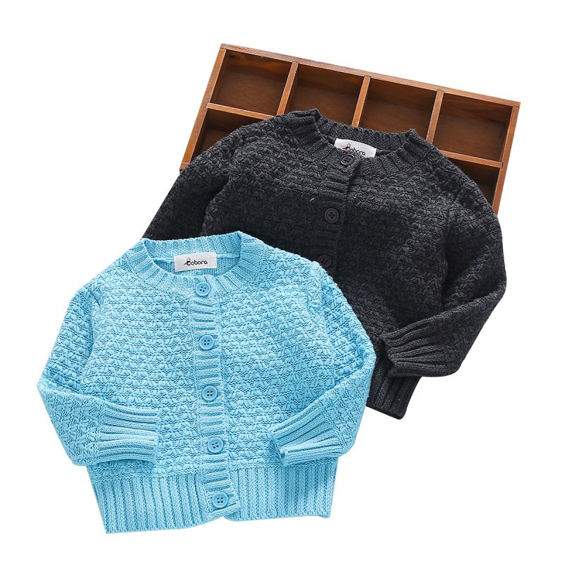 Sweaters Baby Girls Boys Long Sleeve Autumn Knitted Fashion Sweater With Button Tops Kids