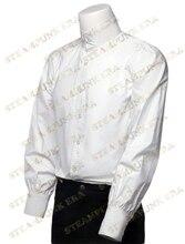 Хэллоуин-белый сплошной цвет чистого хлопка мужская викторианской стимпанк рубашки