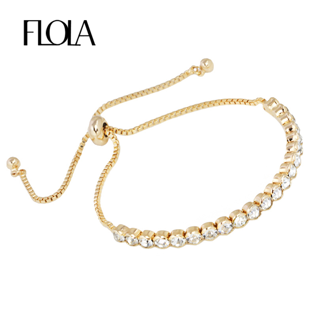 New Simple Design Gold Crystal Bracelets Charms Chain Bracelet Charm For Women Femme Fashion