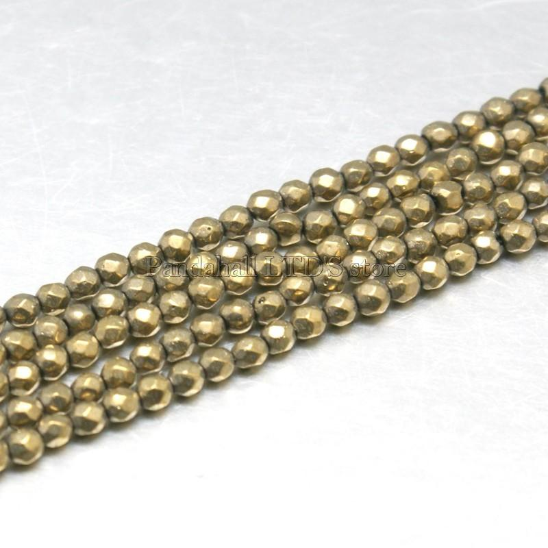 Natural Pyrite Beads Strands, Grade AB, Faceted, Round, DarkKhaki, 2mm, Hole: 0.5mm ...