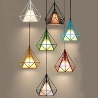 Nowoczesne 7 kolor klatka dla ptaków wisiorek światła żelaza retro lampy wiszące metalowe klatka diament abażur kryty oprawa światła z led żarówki w Wiszące lampki od Lampy i oświetlenie na