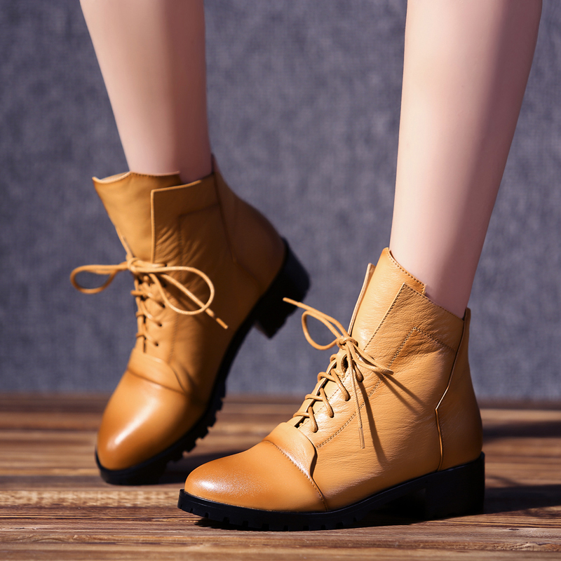 Genuine Leather ladies boots, spring and autumn fashion casual lace -up personality shoes, Martin boots women shoes big size ms autumn and winter snow boots warm comfortable wholesale women ladies casual shoes lace up martin boots popular dt548