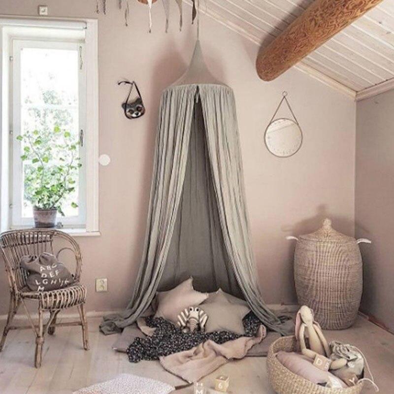 Estilo princesa mosquitera redondo Domo cama cubierta de lino de algodón Mosquito cortina para niños niña habitación Decoración