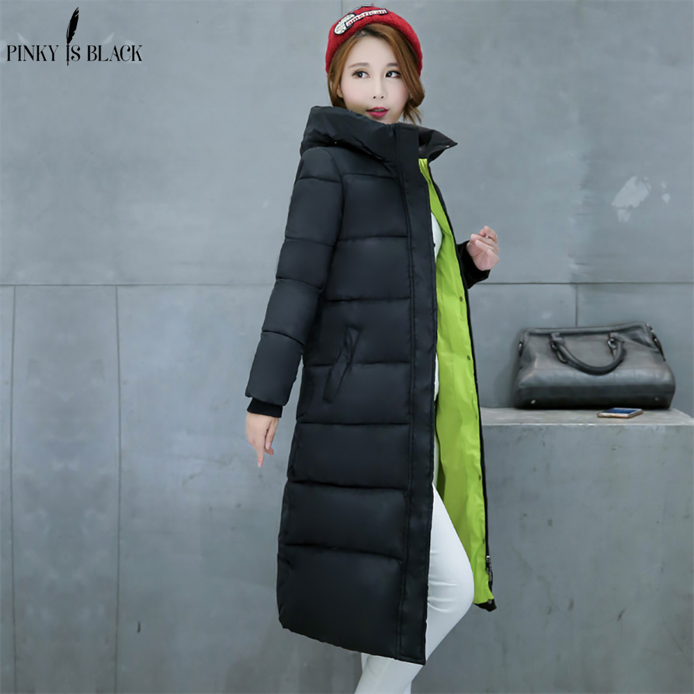 Image 4 - PinkyIsBlack 2019 new thicken wadded jacket outerwear winter jacket women coat long parkas cotton padded hooded jacket and coat-in Parkas from Women's Clothing