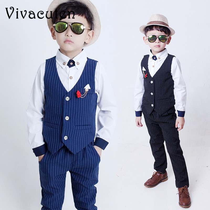 Gentleman Kids Sets 2018 Fashion Boys Vest Shirt Pants 3pcs Kids Wedding Party Clothing Ceremony Children Set Formal Suit F051 winter children boys formal sets 5 pcs woolen blend coat pants vest shirt tie costume wedding birthday party gentleman boy suit