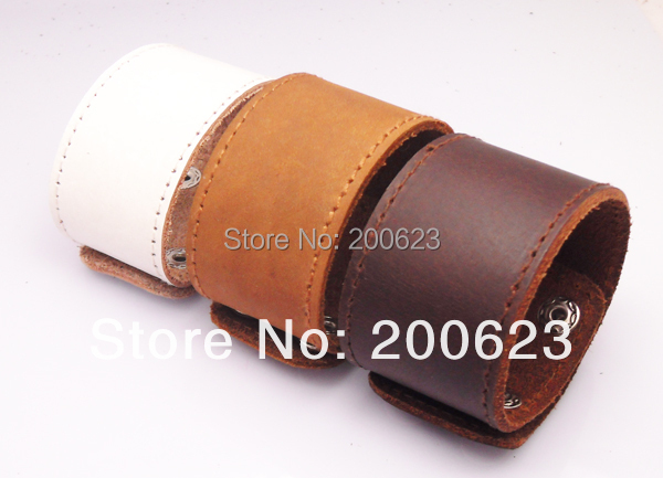 Jinse Wide Leather Cuff Plain Snap Bracelet Blank Bangle For Put Logo