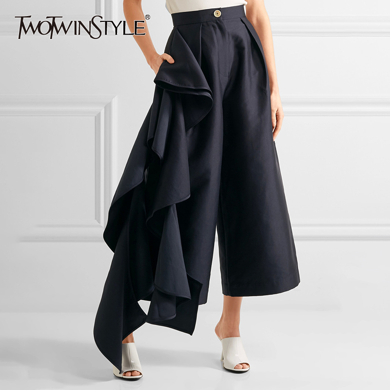 TWOTWINSTYLE Ruffles Patchwork Pants For Women High Waist Large Size Wide Leg Trousers Female 2019 Spring Fashion OL Clothing