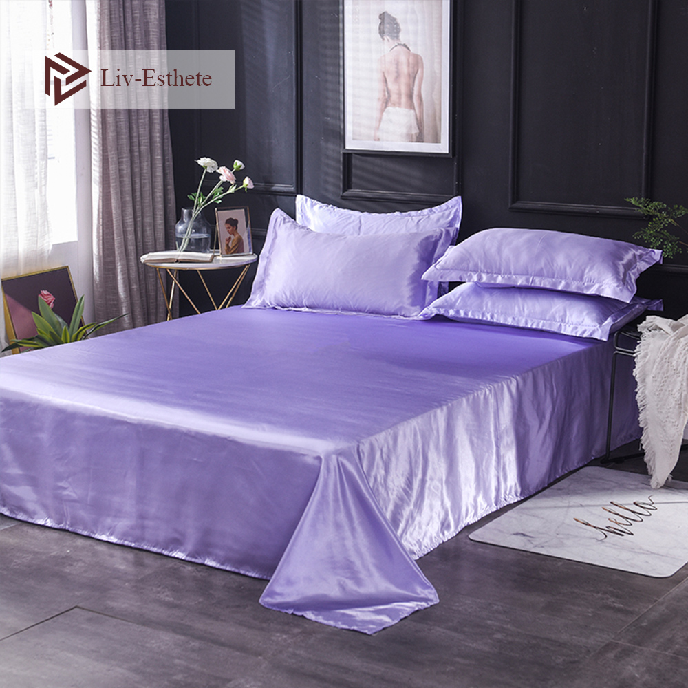 Liv-Esthete 2019 Hot Sale Wholesale Luxury 100% Satin Silk Lilac 1PCS Flat Sheet Silky Queen King Bed Sheets For Women Men