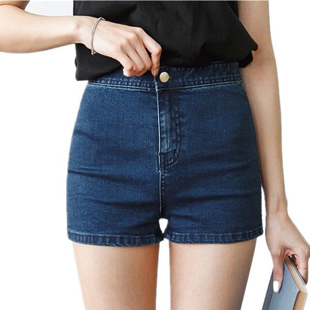 2017 AA fashion design Women Jeans Shorts female black blue elastic skinny demin shorts 2017 summer style