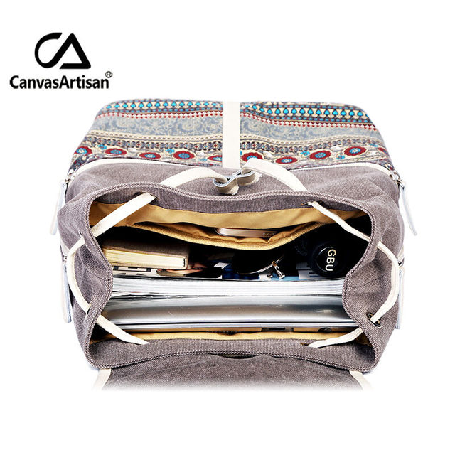 Canvasartisan Top Quality Canvas Women Backpack Casual College Bookbag Female Retro Stylish Daily Travel Laptop Backpacks Bag 3
