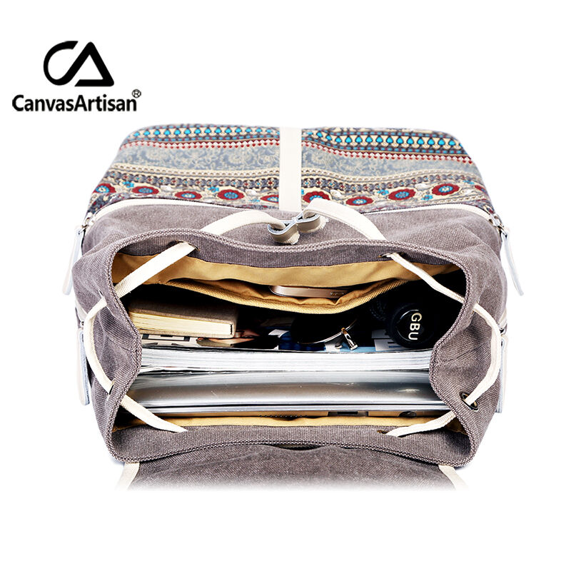 Image 4 - Canvasartisan Top Quality Canvas Women Backpack Casual College  Bookbag Female Retro Stylish Daily Travel Laptop Backpacks Baglaptop  backpack bagbackpack bagtravel laptop backpack