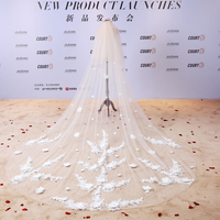 U SWEAR 2018 New Arrival White Rose Appliqued White Soft Women Wedding Veils One Layer Flora Bridal Veil For Wedding Dress