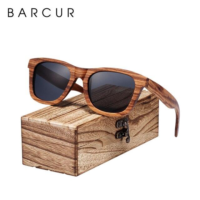 BARCUR Vintage Natura Zebra Wood Sunglasses Women Men Square Sun glasses Polarized Retro Sunglasses