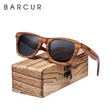 BARCUR lunettes de soleil rétro polarisées en bois zèbre Vintage, lunettes de soleil carrées pour femmes et hommes
