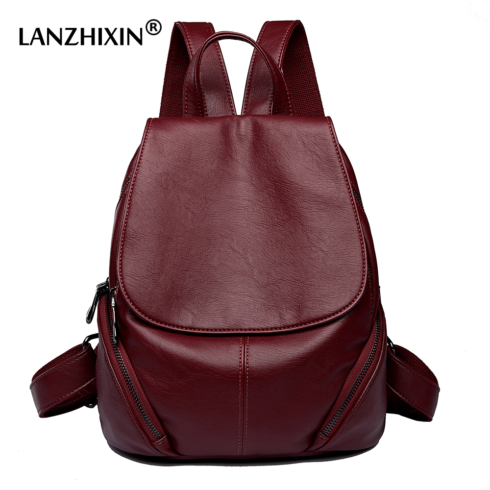 Lanzhixin Women Leather Backpacks Bag Simple Fashion Preppy Style Bags Casual Backpacks Students School Travel Bags
