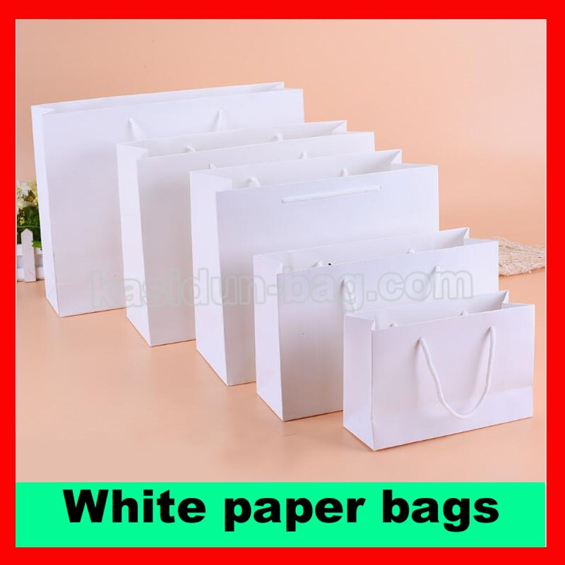 (100PCSlot) 10 SIZE available wholesale 250gsm paperboard paper bag white