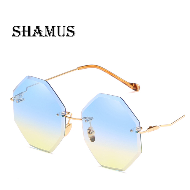c804193d2a9 SHAMUS Rimless Sunglasses Oversized Eyewear Top Fashion New Trend  Eyeglasses Lady UV400 Colorful Sunglass Women Vogue Sun Glass