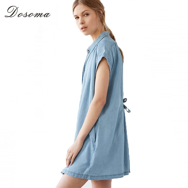 DOSOMA-2017-Fashion-Women-Solid-Irregular-Denim-Vintage-Dress-Spring-Summer-Long-Dresses-ladies-Elegant-Casual