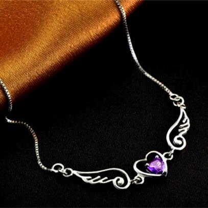 Women Fashion Angel love Heart 925 sterling sliver female necklace