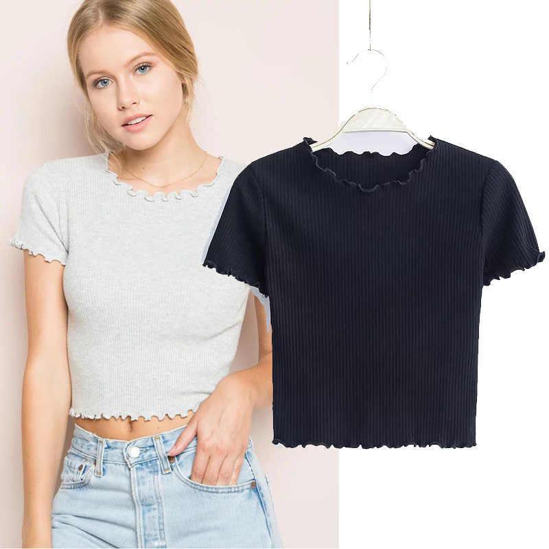 Camisas de manga corta con cuello redondo y orejas de madera Vintage 2019 nueva camisa ajustada para mujer blusa ajustada de verano Camisetas Retro 6 colores