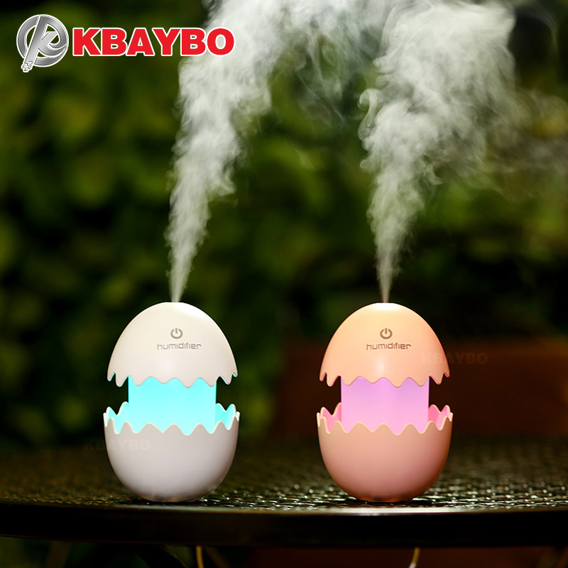 купить KBAYBO 100ml Diffuser Aroma Air Humidifier DC5V USB Ultrasonic Mist Maker funny Egg LED light Essential Oil Diffuser for home недорого