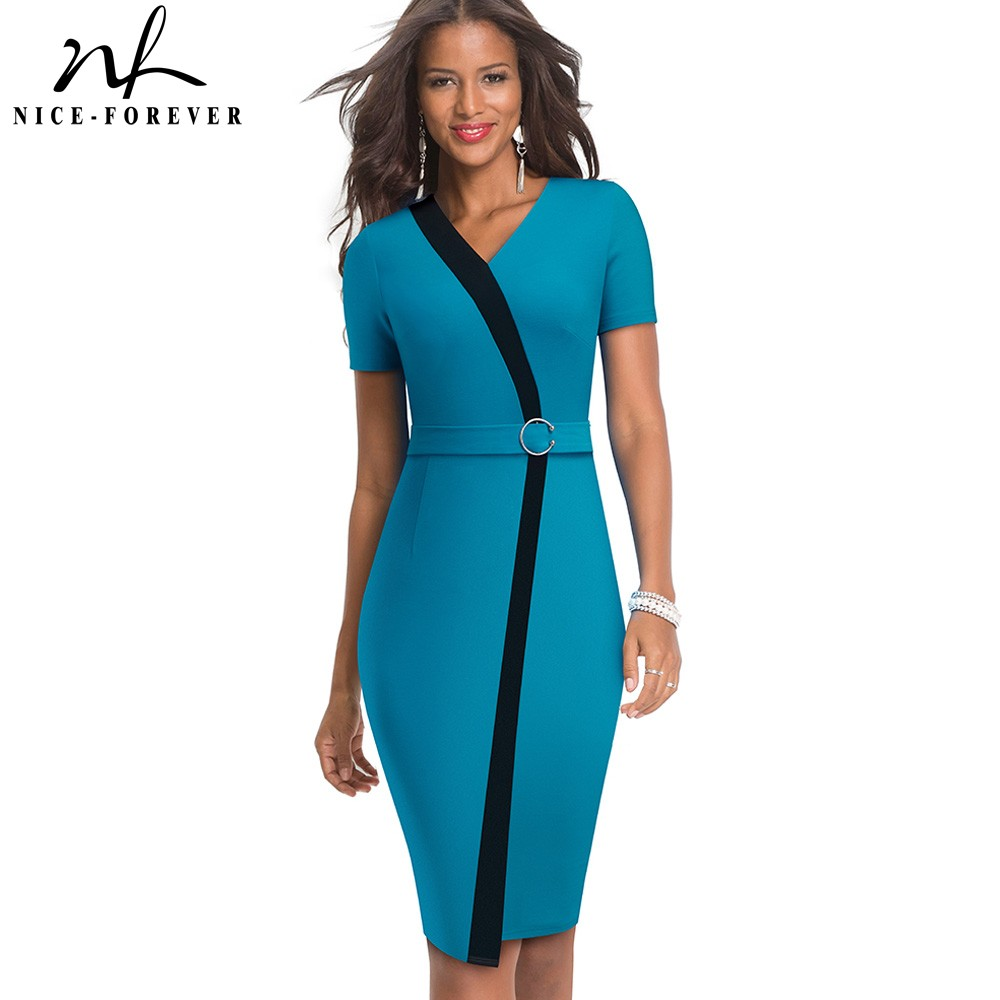 Nice-Forever Elegant Contrast Color Patchwork With Ring Work Vestidos Office Business Party Bodycon Sheath Women Dress B539