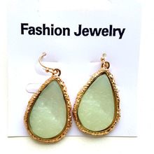 2018 New Design Big Resin Stone Long Earrings For Women Teardrop-shaped Waterdrop Earrings Gold-color Dangle Earrings Bijoux