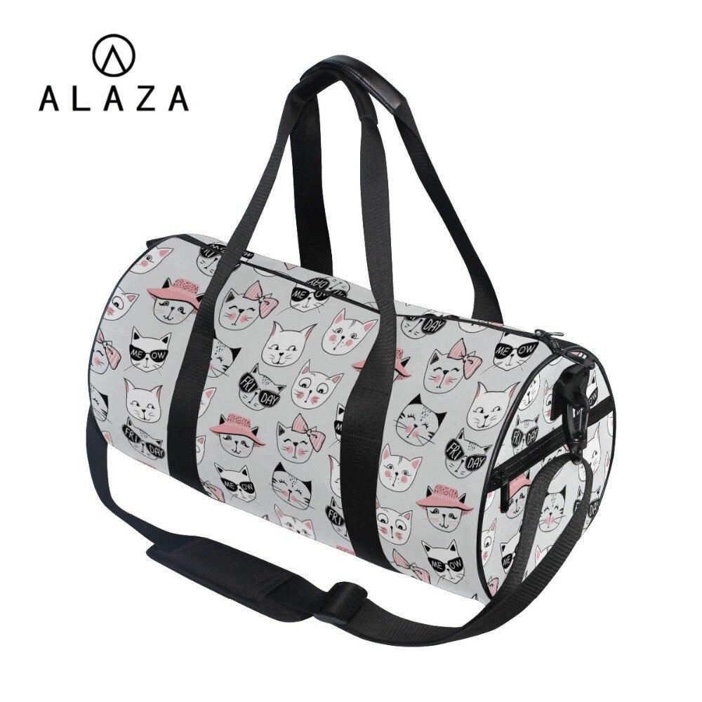 ALAZA Simple Barrel Style Travel Shoulder Bag Cute Cartoon Cats Printing Big Storage Tote Handbag High Quality Sports