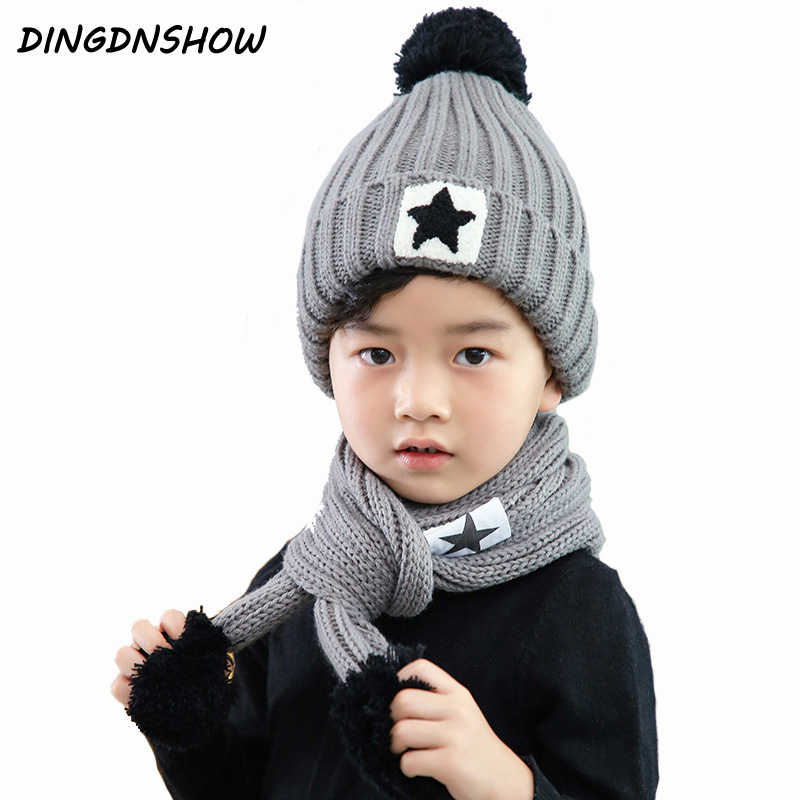 c40ad9889f2  DINGDNSHOW  2018 Brand Beanies Hat Kids Cotton Winter Cap Sets Bonnet Hat  Warm Knitted