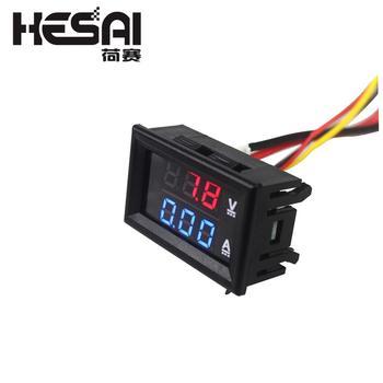 Voltímetro de alta calidad, 10A, 100V CC, azul + rojo, amperímetro, voltímetro...
