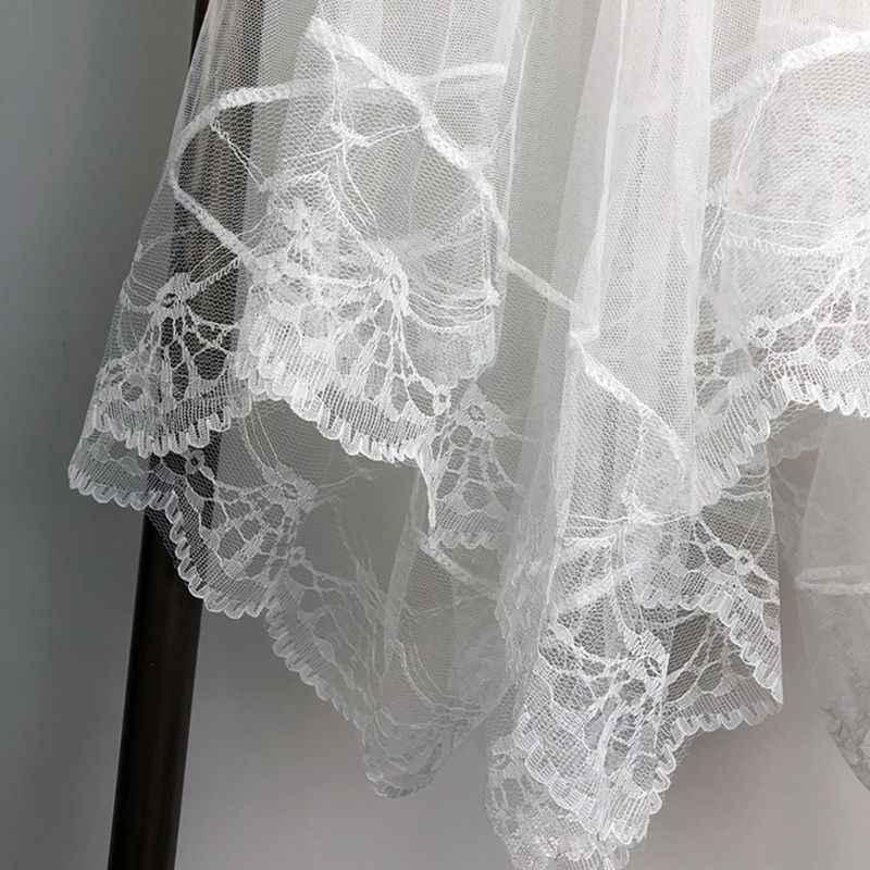 Kobiety wysokiej talii koronka muszelkowa wykończenia Midi długa spódnica wyłożona kolorem nieregularne brzegi plisowana dwuwarstwowa przezroczysta siateczka Party