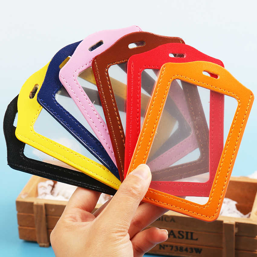 1PC Simple PU Leather Vertical Version Style Border Lanyard Holes Student ID Name Badge Holder Office Supplies
