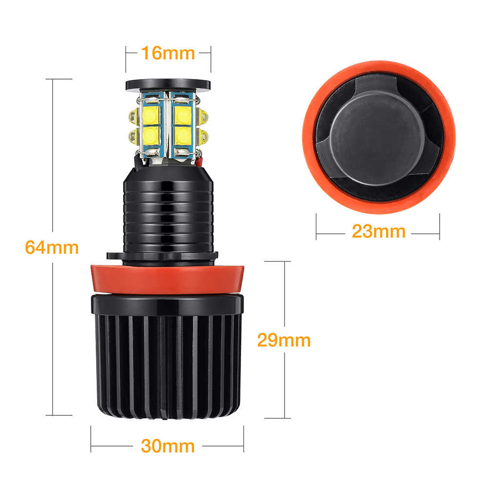 2pcs H8 240W LED Angel Eyes Headlight With Cree Chip 12SMD Driving Lights Car Fog Lamps Bulbs for BMW E90 E92 E70 X5
