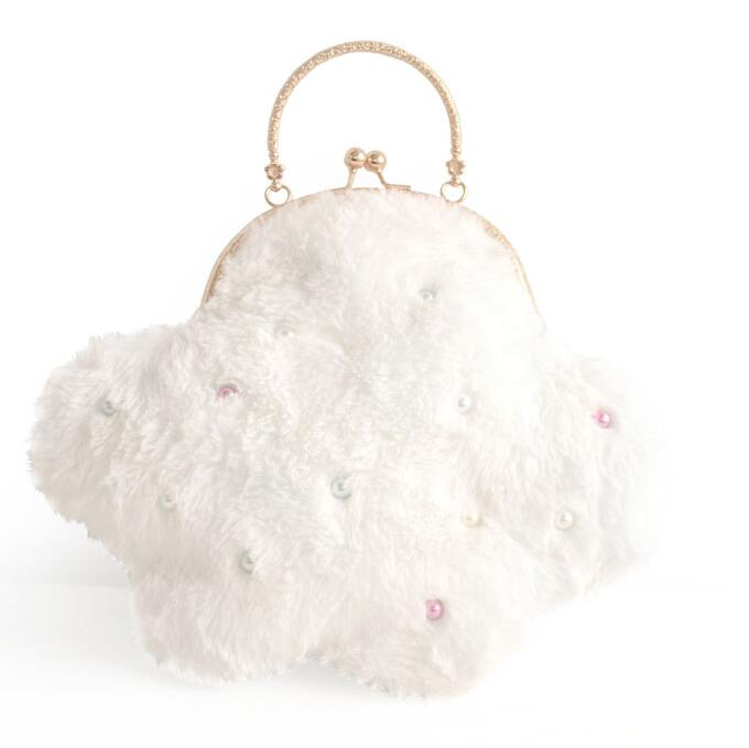 Handmade Pearl White Lolita Style Hasp Lovely Cloud Faux Fur Kisslock Metal Frame Chain Messenger Shoulder Bags Handbags Totes in Top Handle Bags from Luggage Bags