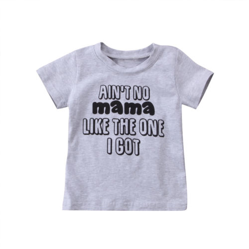Summer Kids Short Sleeve T shirt Tops Toddler Baby Girl Boys Letters Print Cotton Tee Tops Blouse Clothes 1-6Y