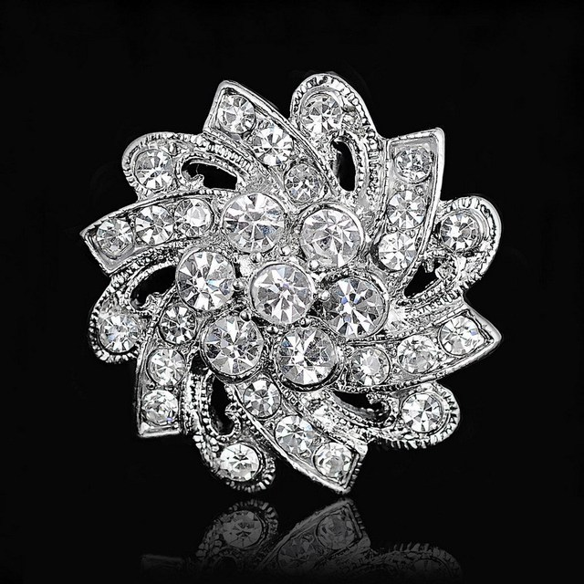 Rhinestone Crystal Silver Flower Brooches for Women Men Wedding Bridal Party Round Bouquet Brooch Pin Clear