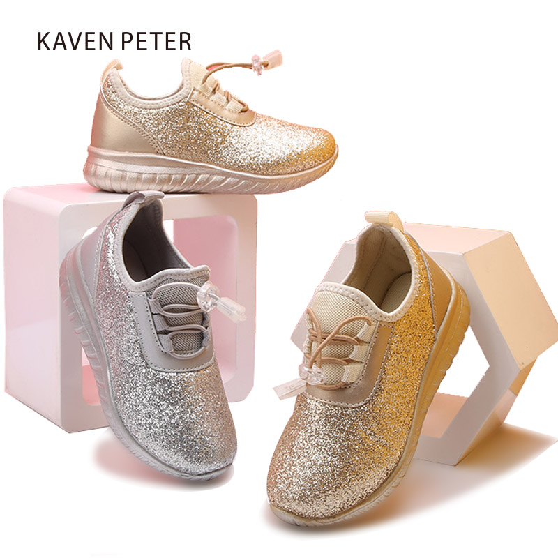 Breathable Running Shoes Children sports sneakers Glit shining shoes kids bling Sneakers for Boys Girl gym shoes size 25-31 2016 new shoes for children breathable children boy shoes casual running kids sneakers mesh boys sport shoes kids sneakers