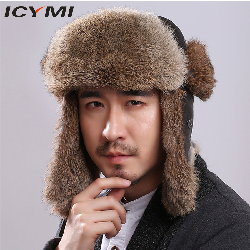 ICYMI Men s Hats Winter Rabbit Fur Bomber Hat with Ear Flaps Good Quality Real Fur