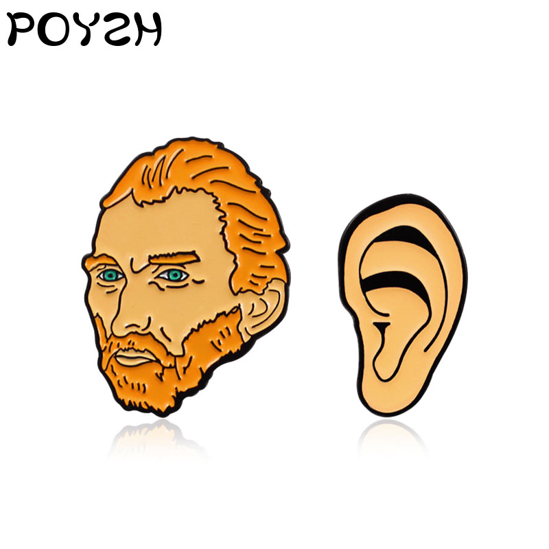 The Painter Vincent Van Gogh Head And Ear Enamel Brooch Art Lovers Friends Gifts Jewelry Accessories Backpack Badge Lapel Pin