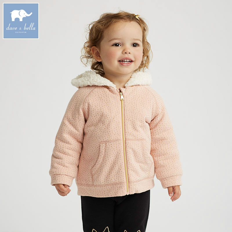 DB5977 dave bella autumn infant baby girls coat fashion clothes toddler print Hooded coats children high quality tops