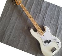 Бесплатная доставка электрический бас гитара, белый сплошной ксилофон клен ксилофон шеи P BASS все цвета могут быть выполнены по индивидуальн