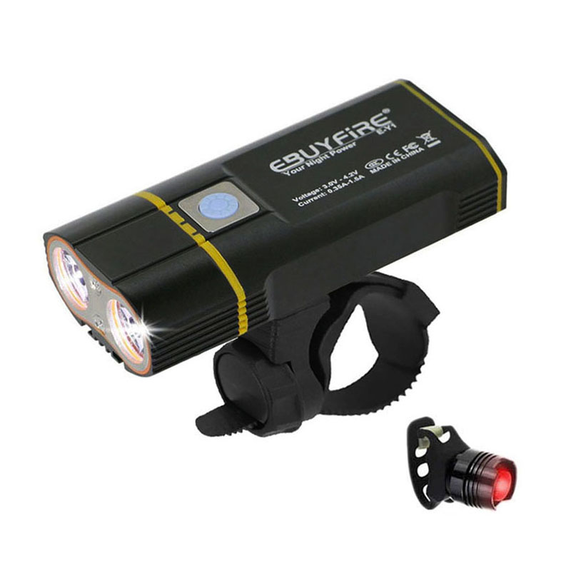 6000LM USB Bike Light 2x XML-L2 LED Bicycle Lights With 6000mAh Rechargeable Battery Cycling Front Light +Handlebar Mount