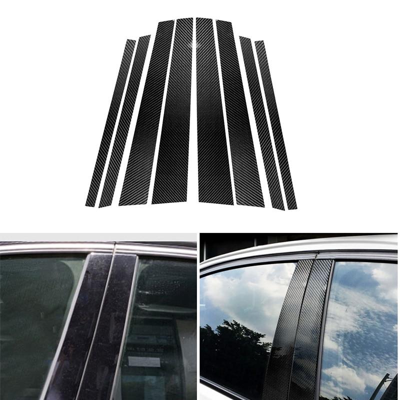 Car Real Carbon Fiber Window B pillar Molding Cover Trim For BMW E90 E60 F30 F10