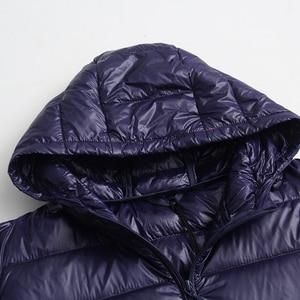 Image 5 - 새로운 가을 겨울 플러스 크기 6xl 다운 재킷 여성 울트라 라이트 화이트 오리 코트 파커 긴 슬림 후드 여성 outwear rh1340